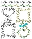 Botanical Borders and Frames/eps. Hand-drawn borders, banners and frames of leafy green vines Stock Image