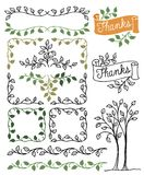 Botanical Borders and Frames/eps. Hand-drawn borders, banners and frames of leafy green vines Stock Photo