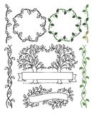 Botanical Borders/eps. Hand-drawn borders of leafy green vines ...personalize for printed pieces such as wedding invitations Stock Images