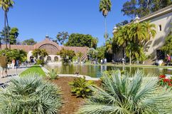Botanical Building, Balboa Park. The Botanical building and lily pond in Balboa park, Sand Diego, Southern California in the United States of America. A wooden Stock Images