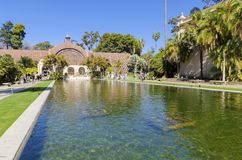 Botanical Building, Balboa Park. The Botanical building and lily pond in Balboa park, Sand Diego, Southern California in the United States of America. A wooden Royalty Free Stock Images
