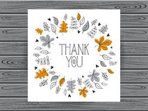 Botanical card with thank you message. Royalty Free Stock Photography