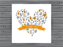 Botanical card with thank you message. Royalty Free Stock Image