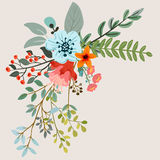 Botanical floral bouquet. Vector design with hand drawn herbs and flowers. Decorative botanical background stock illustration