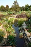 Botanical Flower Garden with Water Feature Stock Photo