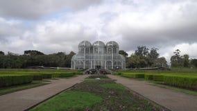 Botanical Garden In Curitiba, Brazil. Statue, Fountain And Greenhouse At Botanical Garden In Curitiba, Brazil stock footage