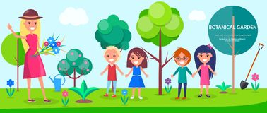 Botanical Garden Excursion for Little Children. With female guide. Tall green trees, colorful flowers and neat lawn vector illustrations Royalty Free Stock Photo