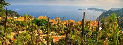 The botanical Garden of Eze Village with the Mediterranean Sea in the background royalty free stock photo