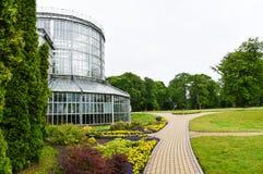 Botanical garden, Kretinga, Lithuania. Outdoor view of Kretinga botanical garden (greenhouse), Lithuania stock photography