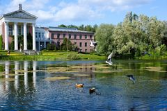 MOSCOW, RUSSIA-May 30, 2018. Botanical Garden named after N.V. Tsitsina in Moscow. The Botanical Garden named after N.V. Tsitsina in Moscow. Pond near the main Stock Image