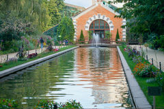 Botanical garden with pond in early fall. Moscow Stock Photos