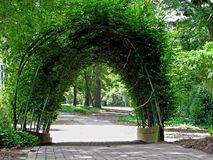 Botanical gardens. A scenic view of beautiful botanical gardens archway Stock Photos