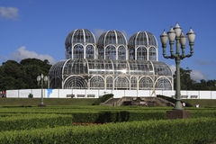 Botanical Gardens Curitiba. A view of the botanical gardens in Curitiba with two lamps Stock Photography