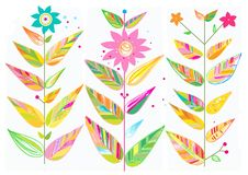 Botanical Illustration with Leaves and Blooms. Pretty and colorful artwork with lovely decorative flowers, great for greeting cards. Check my other similar Stock Image