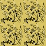 Botanical monochrom pattern with bellflower and clover. royalty free illustration