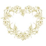 Botanical outline wreath with hand drawn flowers daffodil, narcissus royalty free illustration