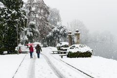 The botanical park of Ciani in the center of Lugano Stock Photography