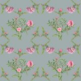 Pattern with leaves and roses. royalty free illustration