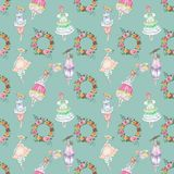 Pattern with wreath and girls. Botanical pattern with wreath and girls royalty free stock image
