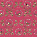 Pattern with flowers and birds. royalty free stock photos