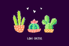 Botanical postcard with color cactus and hearts on black background. Succulent in doodle style. Vector.  Royalty Free Stock Images