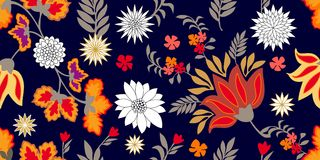 Colorful fantasy folk art style flourish border. Seamless floral pattern with blooming flowers and grey leaves. Royalty Free Illustration