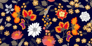Folk art style border. Seamless floral pattern with blooming flowers and grey leaves. Royalty Free Illustration