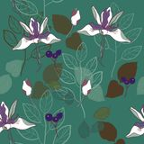 botanical print seamless pattern vector pattern in teal and lavender royalty free illustration
