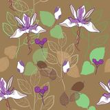 botanical print seamless pattern vector pattern in warm brown and lavender vector illustration