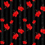 Botanical red Hibiscus flower vertical with vertical wood pattern design for seamless vector background. Tropical botanical red Hibiscus flower vertical with Stock Photo