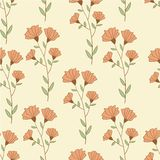 Botanical retro style seamless pattern with. Flower. Hand drawn illustration vector Stock Photos