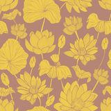 Botanical seamless pattern with beautiful yellow blooming lotus hand drawn on brown background. Backdrop with elegant Royalty Free Illustration