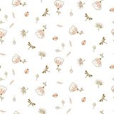 Botanical seamless vector pattern for textile fashion print. Cute light pink florals and insects on white background texture stock illustration