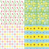 Botanical Spring Floral Seamless Patterns Set Stock Photography