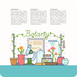 Botanical table and the devices. On the background of the teaching of botany. Botanical table and the devices for lessons, modern  illustration Royalty Free Stock Image