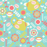 Botanical Tea Pattern. A seamless botanical tea pattern with tea pots, flowers, leaves, and tea cups Royalty Free Stock Photography