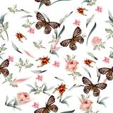 Botanical  vector pattern with hand drawn butterflies and flower. S Royalty Free Stock Photos