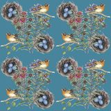 Botanical watercolor pattern with flowers and nest with bird vector illustration