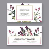 Botanical wedding invitation card template design, hand drawn fuchsia flowers and leaves, pastel color vintage rural with square royalty free illustration