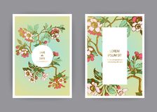Botanical wedding invitation card template design, hand drawn sakura flowers and leaves on branches, vintage rural cherry blossom. On green background, retro stock illustration