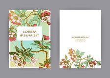 Botanical wedding invitation card template design, hand drawn sakura flowers and leaves on branches, vintage rural cherry blossom. On green gold background stock illustration