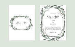 Botanical wedding invitation card template design, white and pink flowers on white background. vector illustration