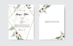 Botanical wedding invitation card template design, white and pink flowers. Vector template set. Wedding invite, invitation. Botanical wedding invitation card vector illustration