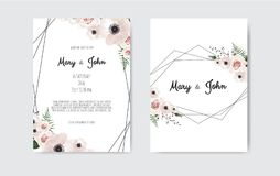 Botanical wedding invitation card template design, white and pink flowers. Vector template set. Wedding invite, invitation. Botanical wedding invitation card royalty free illustration
