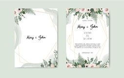 Botanical wedding invitation card template design, white and pink flowers on white background. royalty free illustration