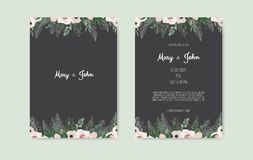 Botanical wedding invitation card template design, white and pink flowers on white background. Botanical wedding invitation card template design, white and pink royalty free illustration