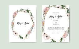 Botanical wedding invitation card template design, white and pink flowers on white background. stock illustration