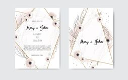 Botanical wedding invitation card template design, white and pink flowers on white and black background. Botanical wedding invitation card template design stock illustration
