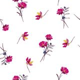 Botanical and wild flowers with leaves pattern on white. Background stock illustration