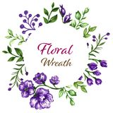 Botanical wreath of green branches and leaves royalty free illustration